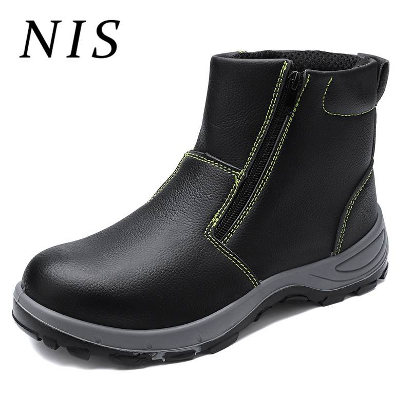 YJP PU Leather Work Safety Shoes Men Boots AtreGo Lightweight Steel Toe Anti smashing Work Boots
