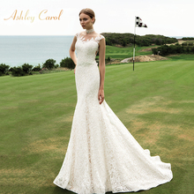 Ashley Carol Mermaid Wedding Dress Sleeveless Court Train