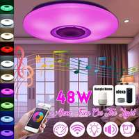 Smuxi 48W 36 LED RGB bluetooth LED Music Ceiling Lights APP Remote Control Acrylic Dimming LED Lamp AC110 260V 24W LED Fixtures