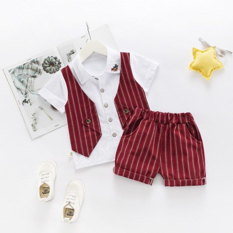 2019 New Summer Children Boys Cotton Clothes Kid Lapel Fake Vest T-shirt Shorts 2pcs/set Toddler Infant Clothing Baby Tracksuits