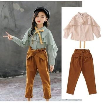 2a3618521 Conjunto de ropa para niñas adolescentes camisa de manga larga con volantes  de primavera + Pantalones 2 piezas trajes para Niñas Ropa para niños 4 6 8  10 12 ...