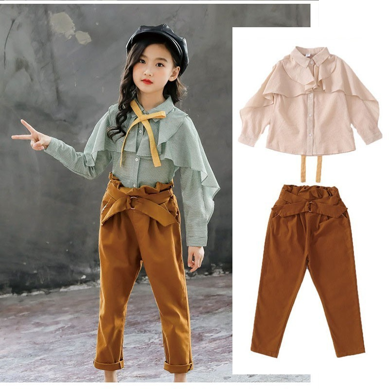 Teenage Girls Clothes Set Spring Ruffles Long Sleeve Shirt + Pants 2PCS Girl Outfits Children Clothing 4 6 8 10 12 13 14 YearTeenage Girls Clothes Set Spring Ruffles Long Sleeve Shirt + Pants 2PCS Girl Outfits Children Clothing 4 6 8 10 12 13 14 Year