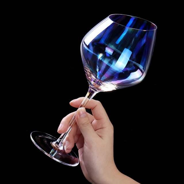 Rainbow Colored Crystal Wine Glass