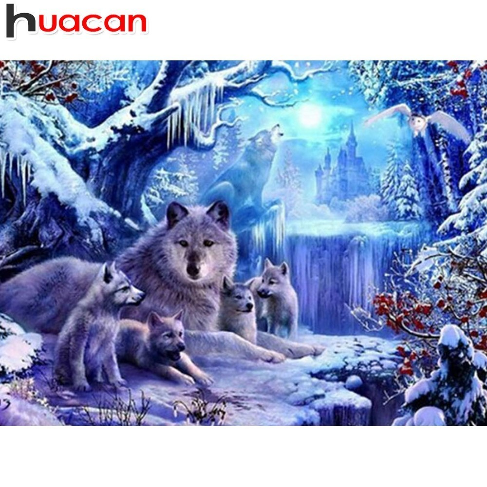 HUACAN Full Drill Square Diamond Painting Wolf Diamond Mosaic Diamond Embroidery Cross Stitch Picture Of Rhinestones AnimalHUACAN Full Drill Square Diamond Painting Wolf Diamond Mosaic Diamond Embroidery Cross Stitch Picture Of Rhinestones Animal