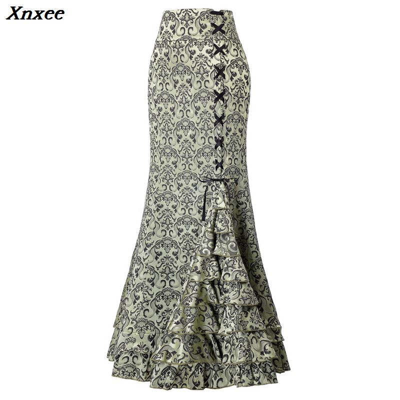 Women Gothic Mermaid Skirts Ruffle Lace Up Purple Black Red Gray Skirts Bodycon Maxi Long Retro Goth Middle Ages Vintage Skirts in Skirts from Women 39 s Clothing