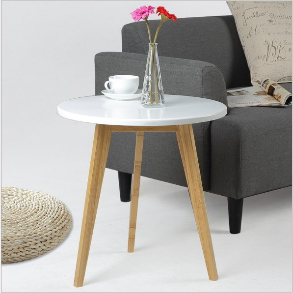 Modern Design Bamboo Round Side Table Minimalist Tea Table Coffee Table Living Room Sofa craft Table 100% bamboo kung fu tea set bamboo tea tray bamboo tea saucer large sea water type tea table storage tray trumpet