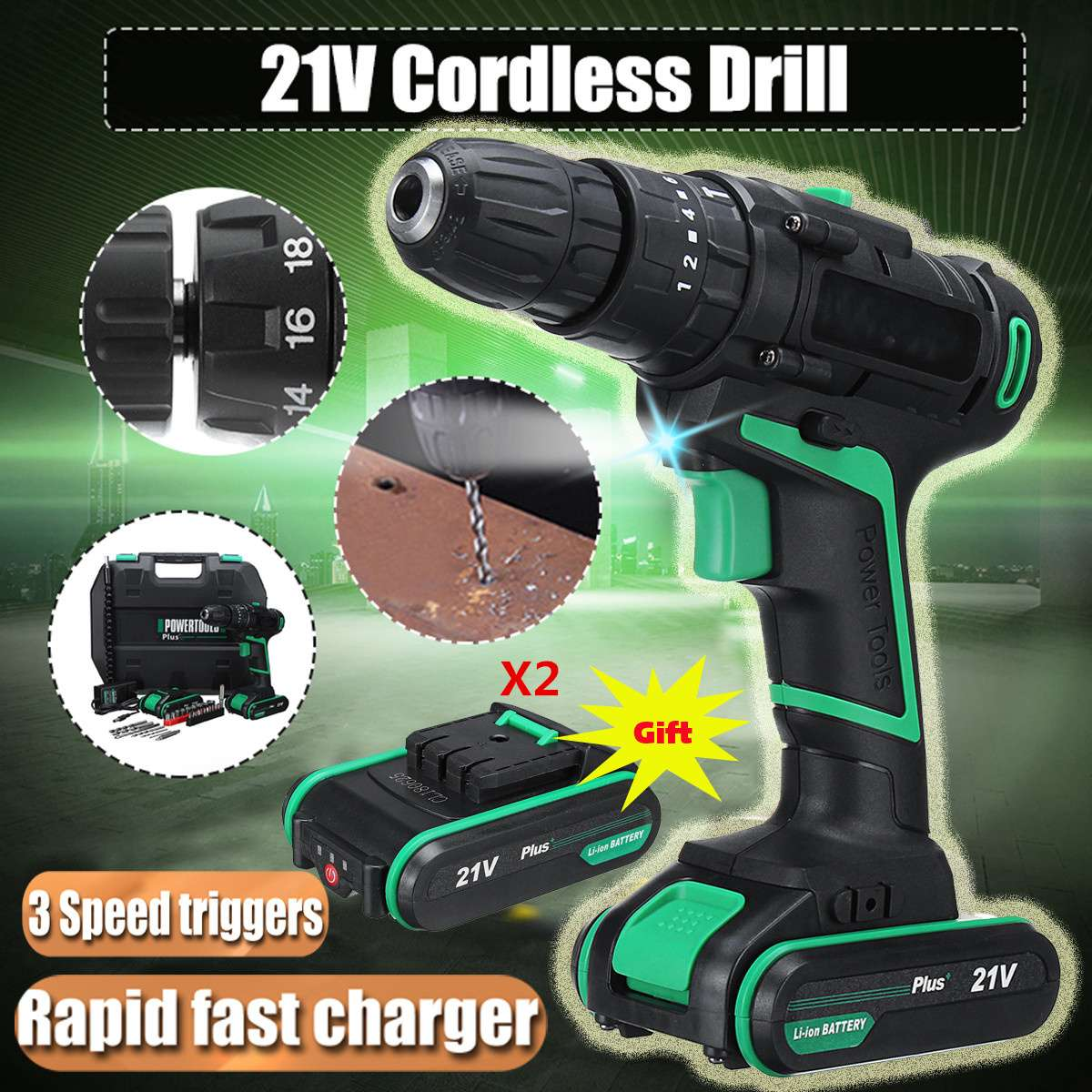 21V Impact Drill Electric Screwdriver Electric Hand Drill Battery Cordless Hammer Drill Home DIY Power Tools + 2 Li-ion Battery цены