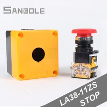 купить LA38-11ZS with box Elevator Lift Safety emergency stop 22mm Self-Locking Mushroom push button switch waterproof 10A 380V дешево