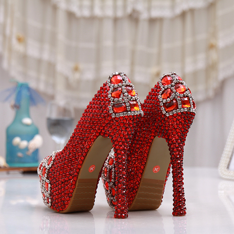 Fête Super 5 De Strass Danse 14cm Pouces Chaussures Fille 12cm Pompes 10cm red Red Mariage Rouge Heels Cendrillon Heels Talon Bal Performance Haute D'anniversaire XwxOnW
