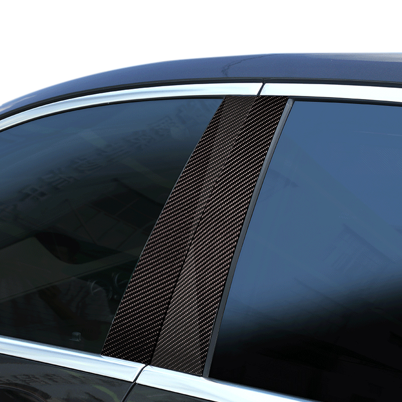 6pcs Car Carbon Fiber Window B pillar Exterior Molding Decor Cover Trim For Mercedes Benz C Class W205 2014 2015 2016 2017 2018