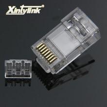 Xintylink rj45 connecteur cat6 ethernet câble prise cat 6 réseau rg rj 45 plaqué or utp jack lan conector 8p8c non blindé 50pcs