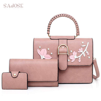 3 Pcs/Set Pu Leather Women Top Handle Bag Casual Totes Women's Shoulder Bags Handbags With Pearl Flower Composite Bag For Lady