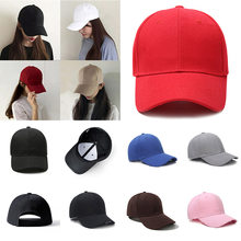 Men Women Plain Curved Sun Visor Baseball Cap Unisex 2019 New Fashion Coffee Red Hat Solid Color Fashion Adjustable Canvas Hat(China)