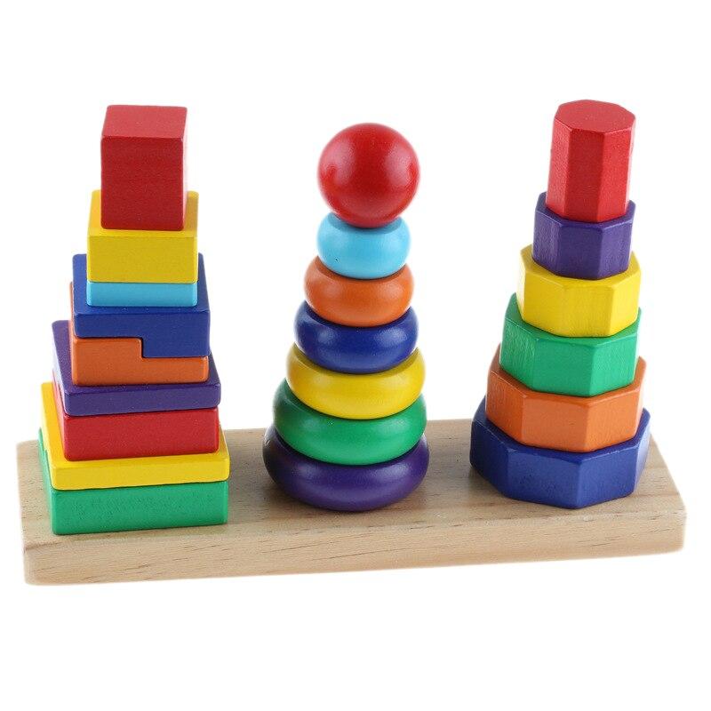 23 Piezas Conjuntos Geométricos Bloques Tres Pilares De La Torre De Inteligencia Madera Arcoíris Anillo Juegos Juguetes Juguetes Para Niños Juguetes De Desarrollo C