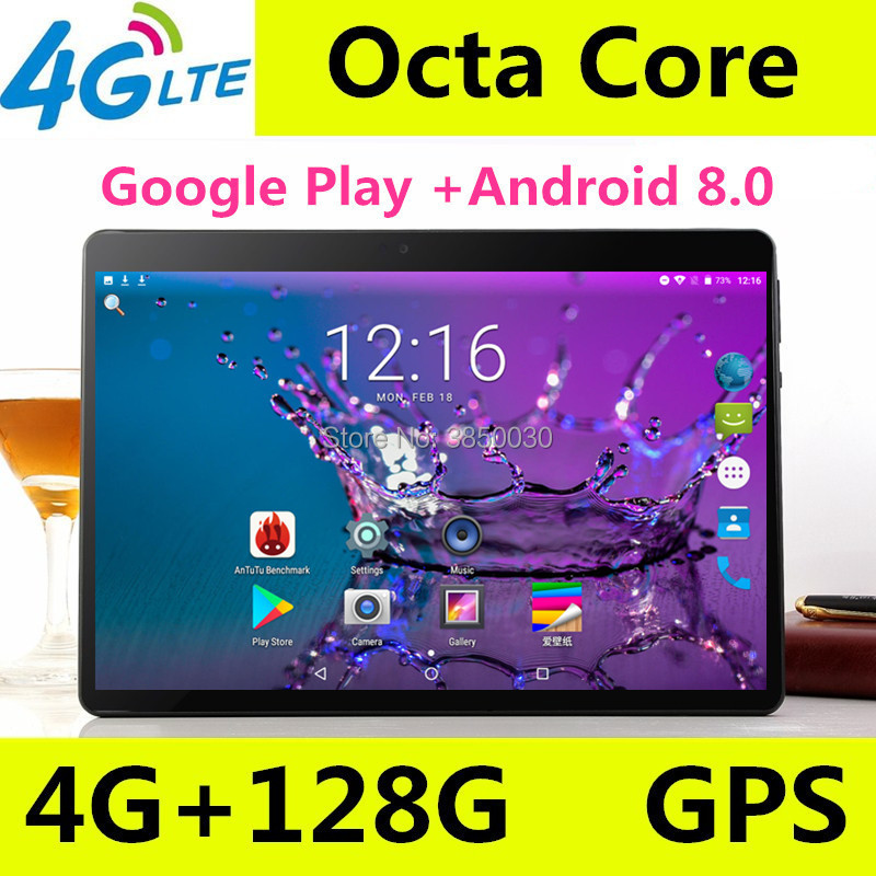 2019 Versão 10 polegada tablet Android 8.0 Núcleo octa Núcleos 8 4 GB de RAM 128 GB ROM 1280*800 IPS Tablets GPS 10.1 Presentes