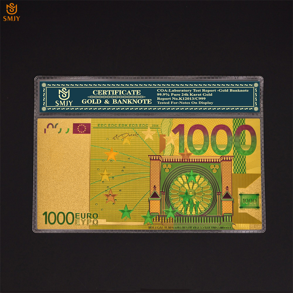 24K Gold Foil <font><b>Banknote</b></font> <font><b>Euro</b></font> <font><b>1000</b></font> Color Replica Currency Paper Money Collection With Sleeve Display image