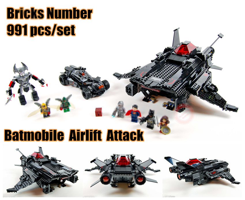 New Flying Fox Batmobile Airlift Attack fit legoings Batman figures Justice League Superman Building block bricks Toy 76087 kidNew Flying Fox Batmobile Airlift Attack fit legoings Batman figures Justice League Superman Building block bricks Toy 76087 kid