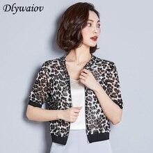 crop top women 2019 Spring Summer New Leopard Modis Cardigan Female Shirt Temperament Mesh Yarn Hooded Sun Protection Clothing