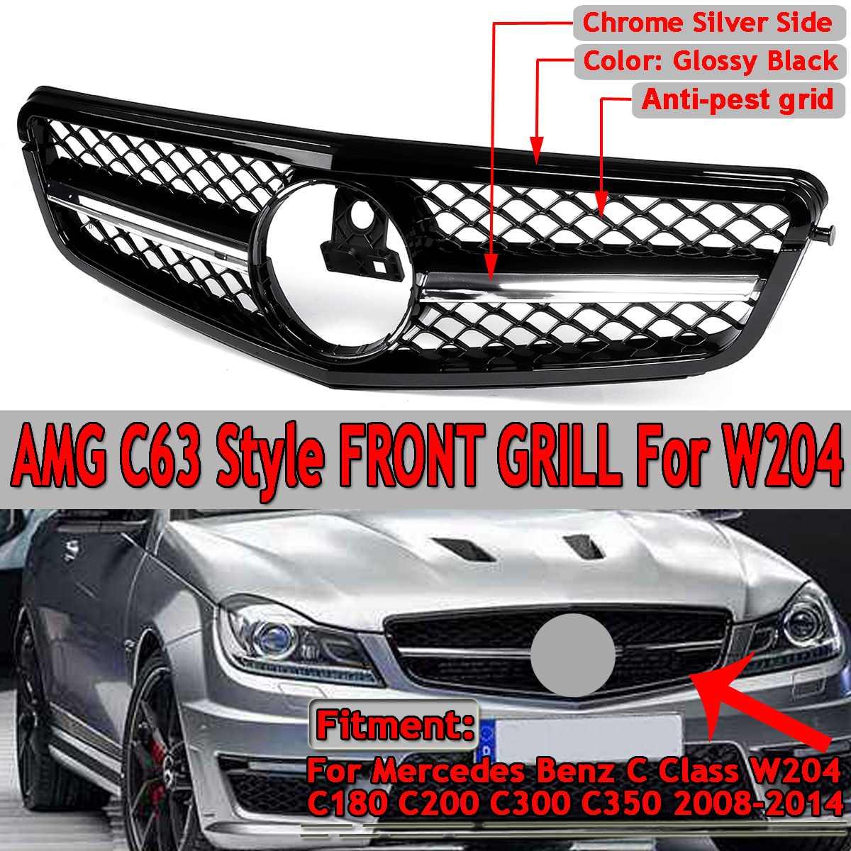 AMG C63 스타일 용 벤츠 C 클래스 W204 C180 C200 C300 C350 2008-14 레이싱 그릴 용 메르세데스 용 신차 전면 그릴 그릴