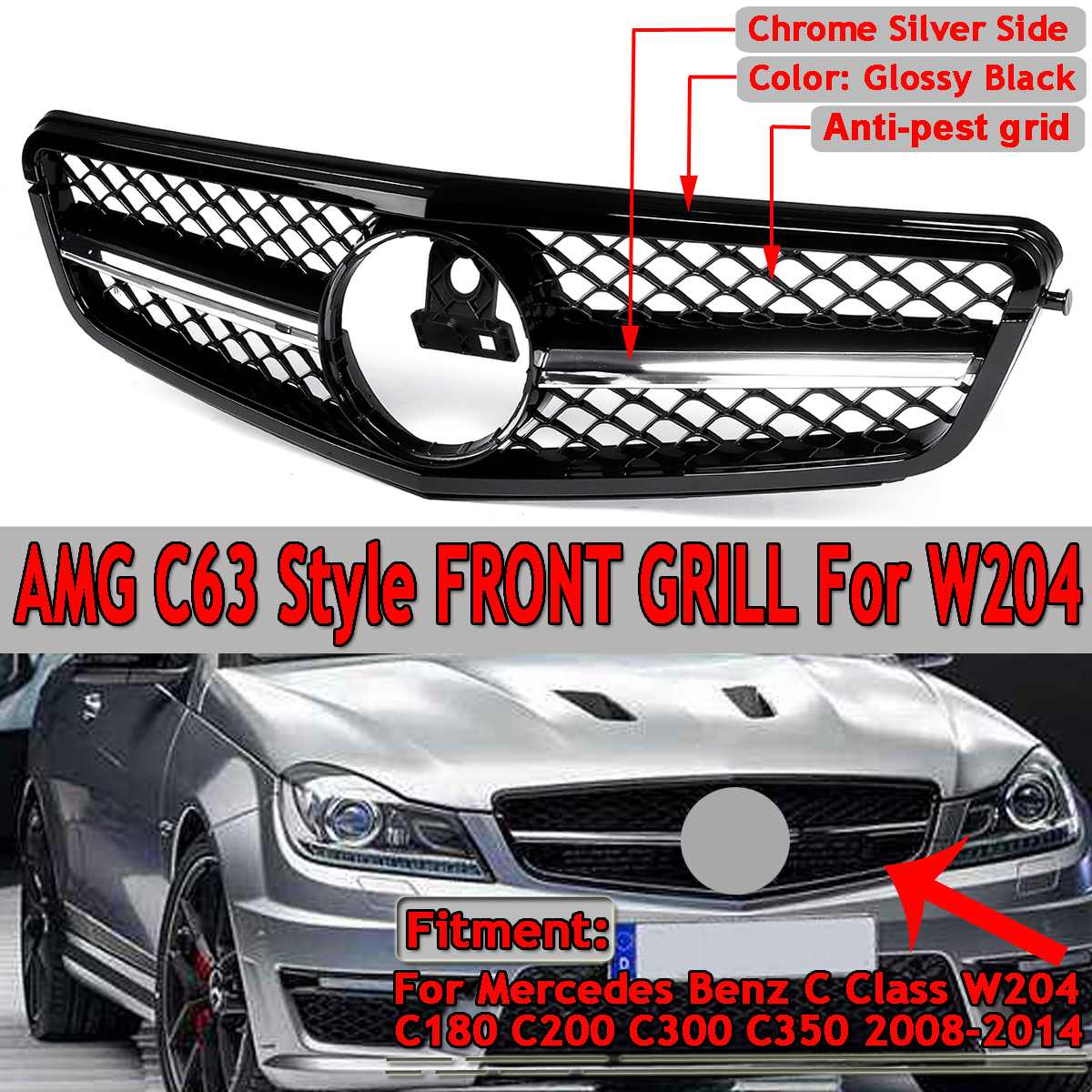 For AMG C63 Style New Car Front Upper Grille Grill For Mercedes For Benz C Class W204 C180 C200 C300 C350 2008 14 Racing Grille