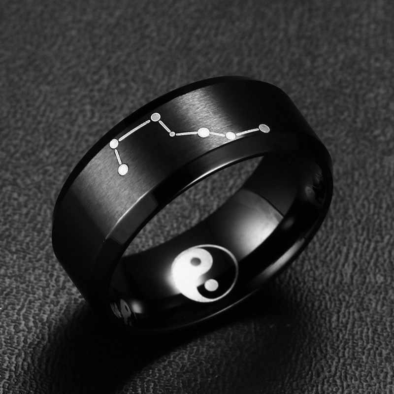 8 мм черное кольцо из нержавеющей стали с большой медведицей Созвездие обручальное кольцо