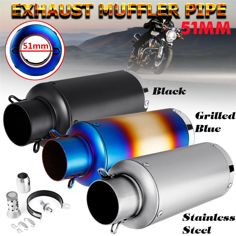 51mm 20 1 Pcs Universal Stainless Steel Motorcycle Exhaust Pipe With Silencer Muffler Modified Kit For Most Motorcycle Scooter51mm 20 1 Pcs Universal Stainless Steel Motorcycle Exhaust Pipe With Silencer Muffler Modified Kit For Most Motorcycle Scooter