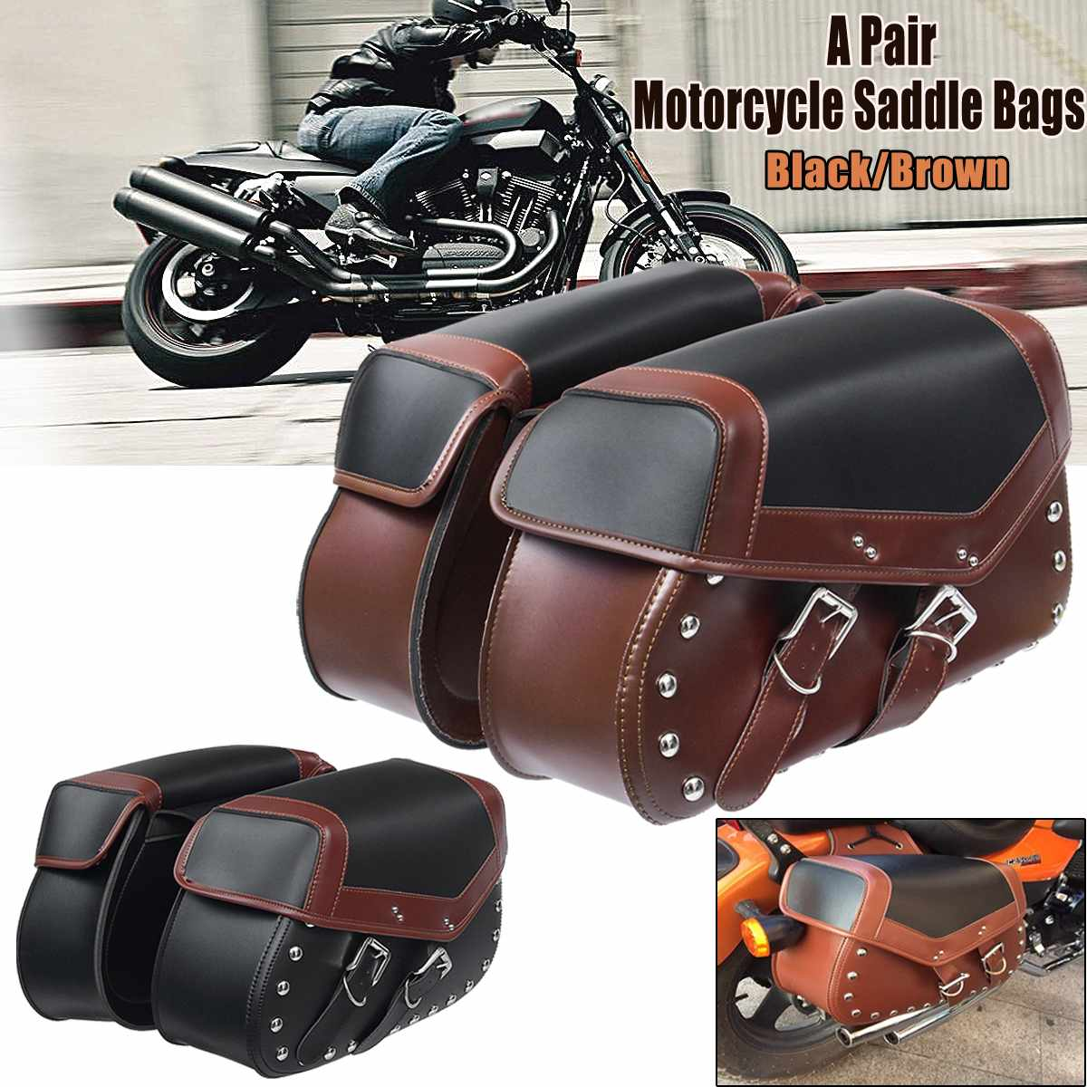Pair Universal Motorcycle Saddle Bags Bike Side Storage Fork Tool Pouch for Harley for Honda все цены