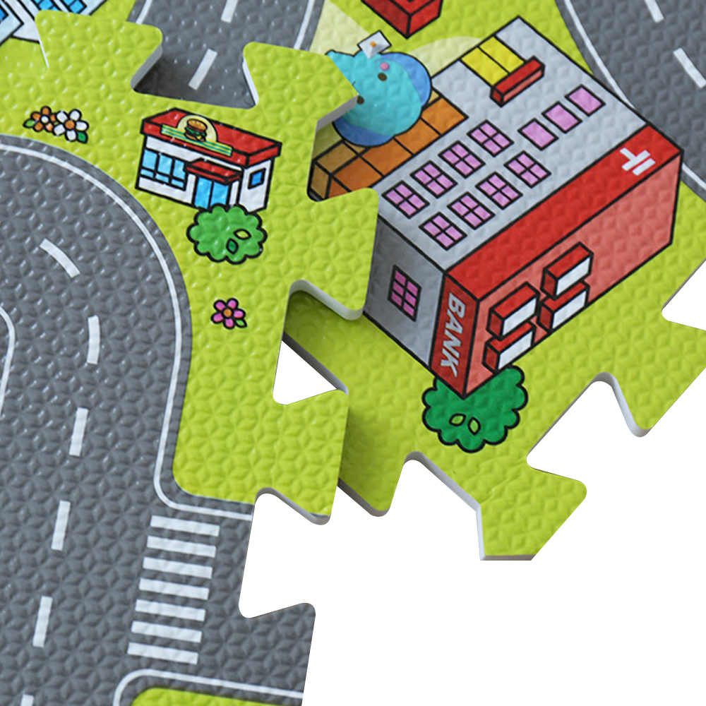 Трафик для игровой коврик-пазл Foam централизации Плитки дети дорожного движения играть ковер Развивающие игрушки для детей Детский развивающий коврик Детская мозаика