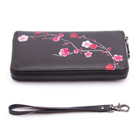 2018 Retro Genuine Leather Wallet New Embossed Suede Leather Handbag Hand Painted Zipper Bag National Style Wallet Coin Purse