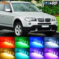 For BMW E83 X3 2003 2010 Halogen headlight RF Bluetooth Controller Multi Color Ultra bright RGB LED Angel Eyes Halo Ring kit