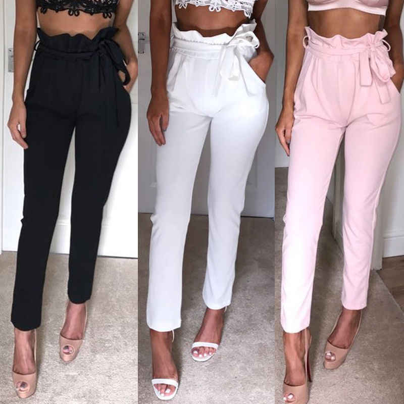 1dd17141195c9 Fashion High Waist Pencil Pants Women Casual Elegant Pockets Pants Female  Solid skinny Trousers Female Bottom