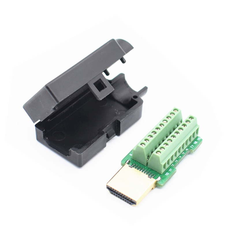 HDMI Male 19P Plug Breakout Terminals Solderless Connector With Cover Black