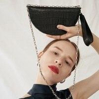 Saddle Bag Animal Print Alligator Leather Bag Handbag Women Vintage Half Moon Bags 2019 New Ins Fashion Drop Shipping OC458