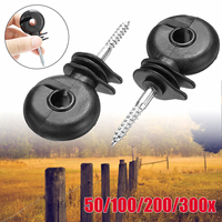 50pcs 3.4'' PP Galvanized iron Electric Fence Offset Ring Insulators Fencing Screw In Posts Wire