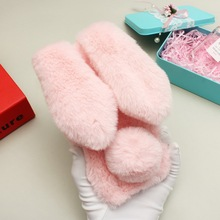 3D Rabbit Case For Samsung A10 6.2 Cute Ears Soft TPU Back Cover Galaxy Fur Plush Bunny Funda