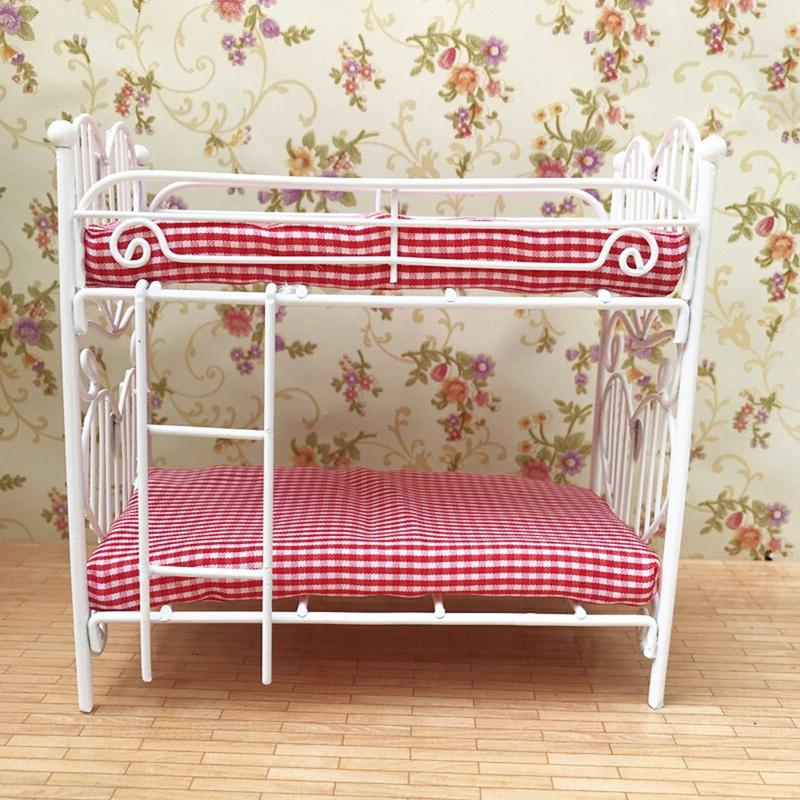 Kids Mini Dollhouse Plastic Iron Frame Two-bunk Bed Set Toy Dollhouse Miniature Furniture Toys For Doll Accessories