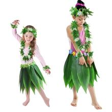 Hawaii Hula Green Leaf Wreath Necklace Bracelet Skirt BBQ Party Clothing Decoration Five-Piece Hawaiian Luau