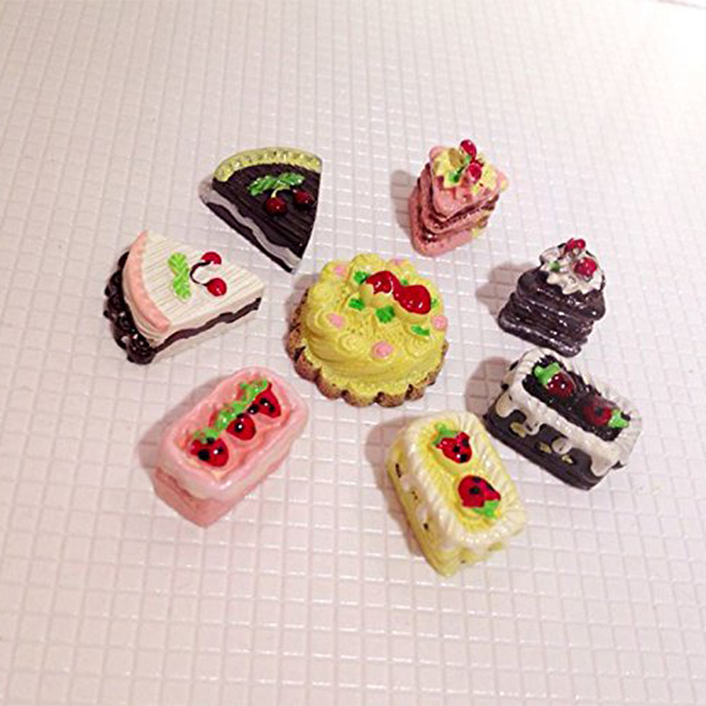 8Pcs Dollhouse Cakes 1/12 or 1/6 Dollhouse Miniature Cakes Assorted Tastes of Chocolate Strawberry Cherry Cakes