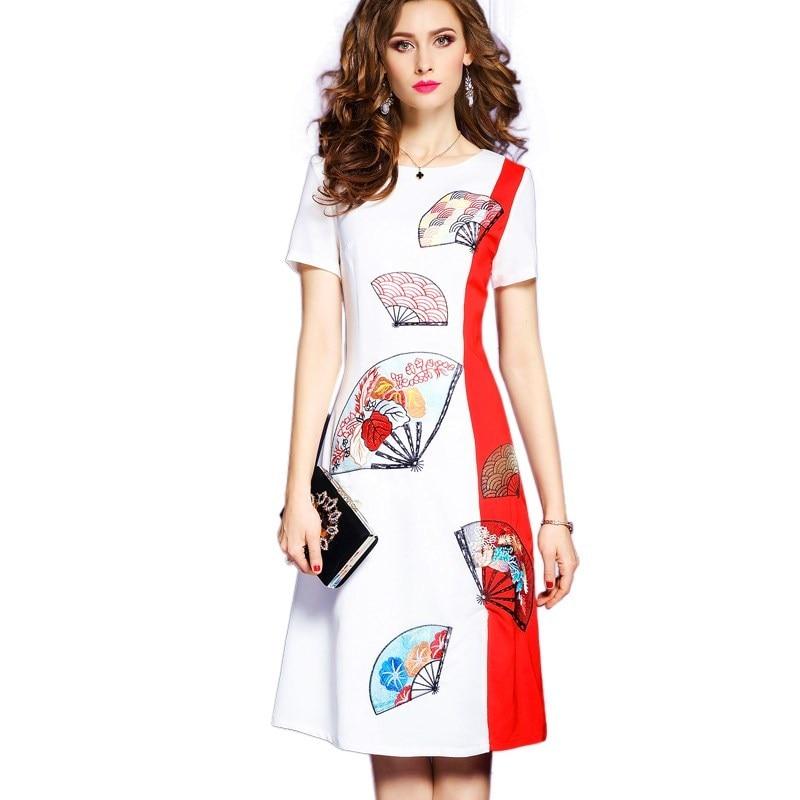 2019 robe femmes printemps été Vintage a-ligne broderie motif grande taille robes Top qualité rouge Patchwork robes de soirée Dy178