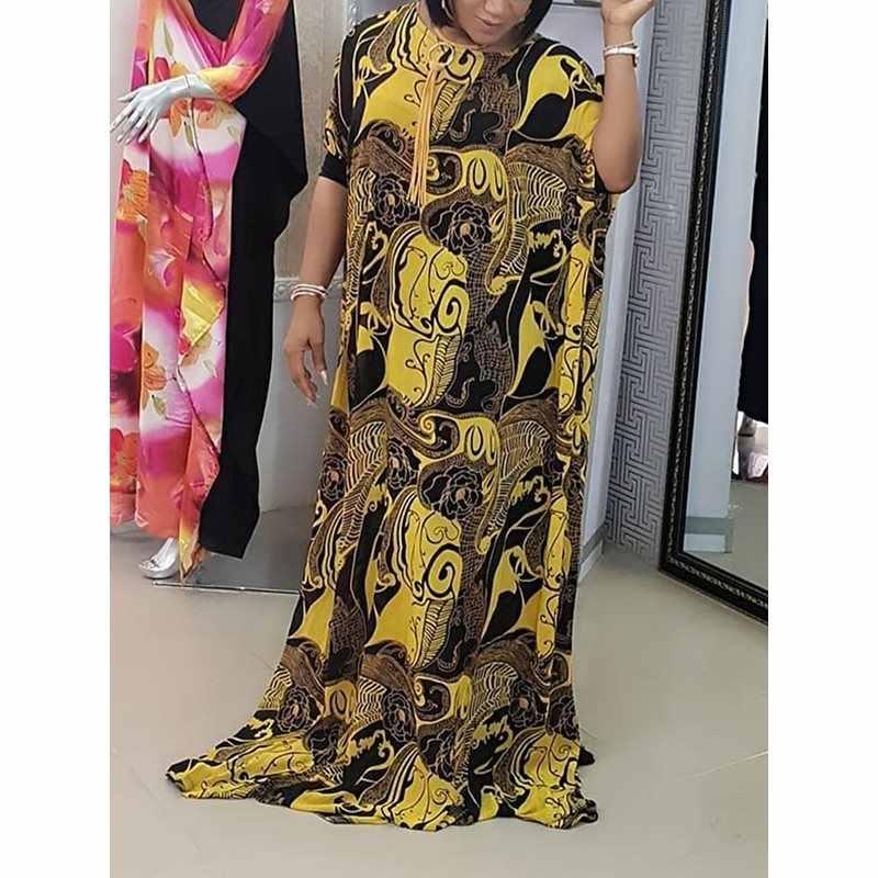 Большие размеры Лето 2019, вечерние женские длинные платья в африканском стиле, повседневные свободные женские платья с рукавами «летучая мышь», винтажное платье Макси