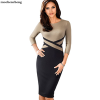 Lady Patchwork Contrast Autumn Casual Business Office Dress Work Elegant Three Quarter Sleeve Bodycon Dress Eb463