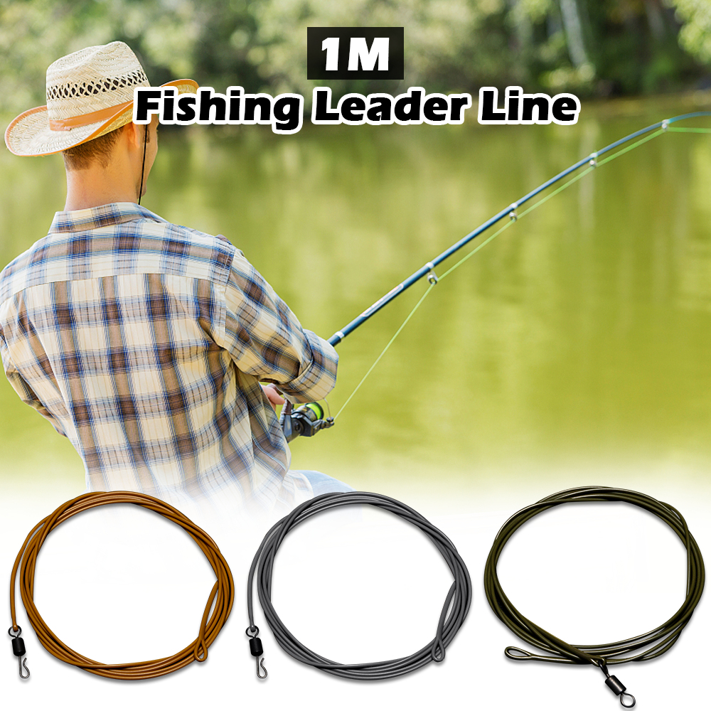 d449a445 1 M 30LB/80LB Fishing Leader Line Leader Wire with Ring Swivel Quick  Swivels Fishing