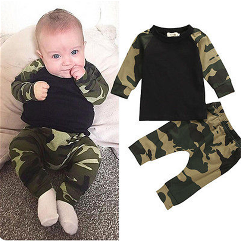 CANIS 2019 New Cute Camouflage Newborn Baby Boys Kids T-shirt Top Long Pants Army Green Baby Boys Clothing Outfit Clothes Set