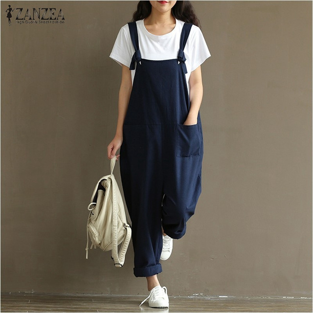 2019 Summer Autumn ZANZEA Rompers Womens   Jumpsuits   Vintage Sleeveless Backless Casual Loose Solid Overalls Strapless Paysuits