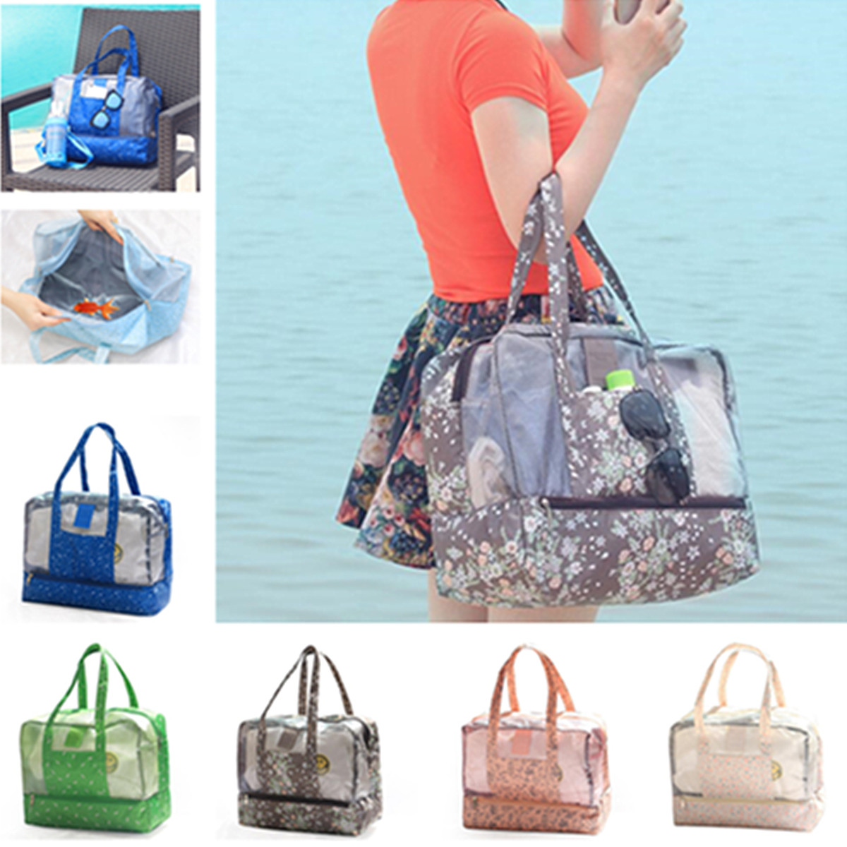 Dry Wet Separate Beach Bags Women Handbags Waterproof Swimming Travel Bag Transparent Mesh Totes Ladies Handle Bolsas Female