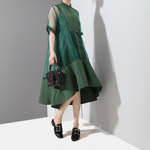 Image 2 - [EAM] Women Green Organza Irregular Shirt Dress New Stand Collar Half Sleeve Loose Fit Fashion Tide Spring Summer 2020 JT581