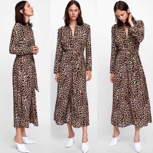 Womens Boho Long Maxi Dress Ladies Party Leopard Dresses Summer Beach Sundress Autumn Long Sleeve Deep V-Neck High Split Dress