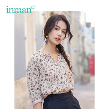 INMAN 2019 Summer New Arrival V-neck Retro Floral All Matched Holiday Style Loose Slim Medium Sleeve Women Shirt(China)