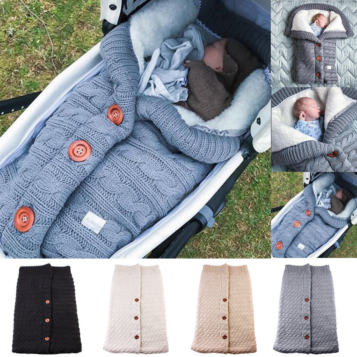 Newborn Baby Winter Warm Sleeping Bags Infant Button Knit Swaddle Wrap Swaddling Stroller Wrap Toddler Blanket Sleeping Bags(China)