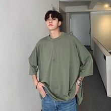 2020 קיץ גברים מוצק צבע חולצה שבעה חלק שרוול אופנה חולצת טי צווארון עגול כותנה בגדי Loose חולצות M XL